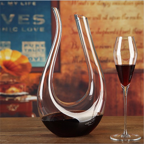 1500ml luxurious crystal glass u shaped horn wine decanter for What is wine decanter