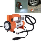 WM102-10 12V Air Pump with Gauge, Portable Metal Cylinder Tire Inflator Compressor with 5 Illumination LED Lamps for Cars Vans Air Mattress Balls 100 PSI 35L/min