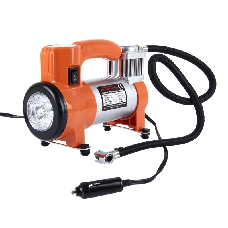 WM102-10 12V Air Pump with Gauge, Portable Metal Cylinder Tire Inflator Compressor with 5 ...