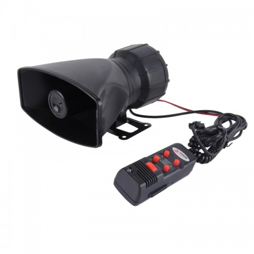 HJS-78005 12V 60W 300dB Car Electric Alarm Air Horn Siren Speaker 5 Sound Tone/ 3 Sound Tone Super Loud With Mic, Cable Length: 60cm