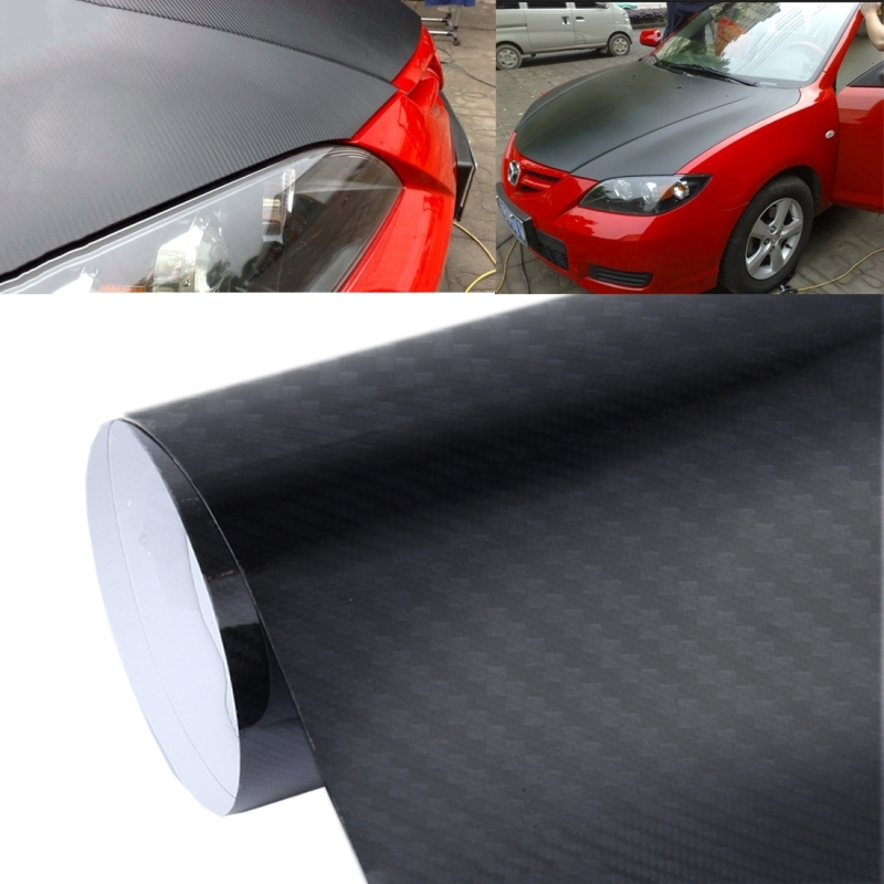5d High Gloss Carbon Fiber Car Vinyl Wrap Sticker Decal Film Sheet Air Release Size 152cm X