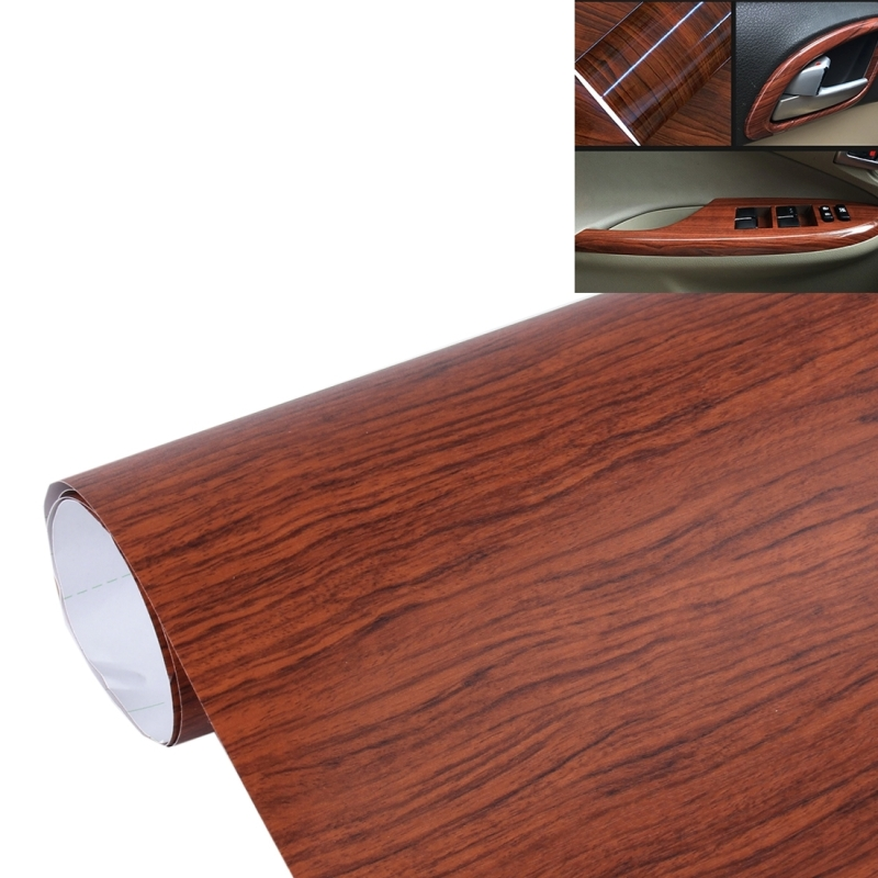 Acacia wood textured high gloss carbon fiber car vinyl for 50cm kitchen cabinets