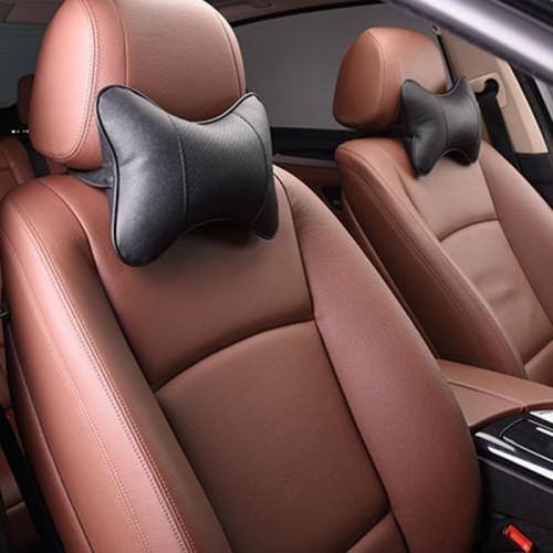2 PCS MLC-06 Car Neck Pillow Soft Version Lovely Breathe Car Auto Head Neck Rest Cushion Headrest Pillow Pad (Black)