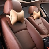 2 PCS MLC-06 Car Neck Pillow Soft Version Lovely Breathe Car Auto Head Neck Rest Cushion Headrest Pillow Pad (Khaki)