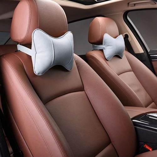 2 PCS MLC-06 Car Neck Pillow Soft Version Lovely Breathe Car Auto Head Neck Rest Cushion Headrest Pillow Pad (Grey)