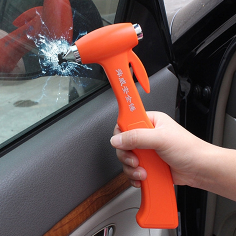 SHUNWEI SD-3501 Seat Belt Cutter Window Breaker Auto Rescue Tool Ideal Plastic Shell Car Safety Emergency Hammer with Adhesive Tape And Fixation Frame (Orange)