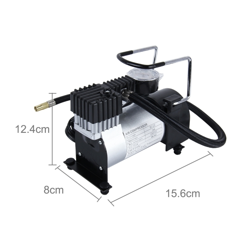 Air Compressor with Pressure Gauge And Three Nozzle Adapters, Portable Metal Cylinder Tire Inflator Compressor for Cars Vans Air Mattress Balls 150 PSI ...