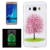 For Samsung Galaxy J7 (2016) / J710 Noctilucent Cherry Tree Pattern IMD Workmanship Soft TPU Back Cover Case