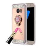 For Samsung Galaxy S7 Edge / G935 Diamond Encrusted Electroplating Mirror Protective Cover Case with Hidden Ring Holder (Rose Gold)