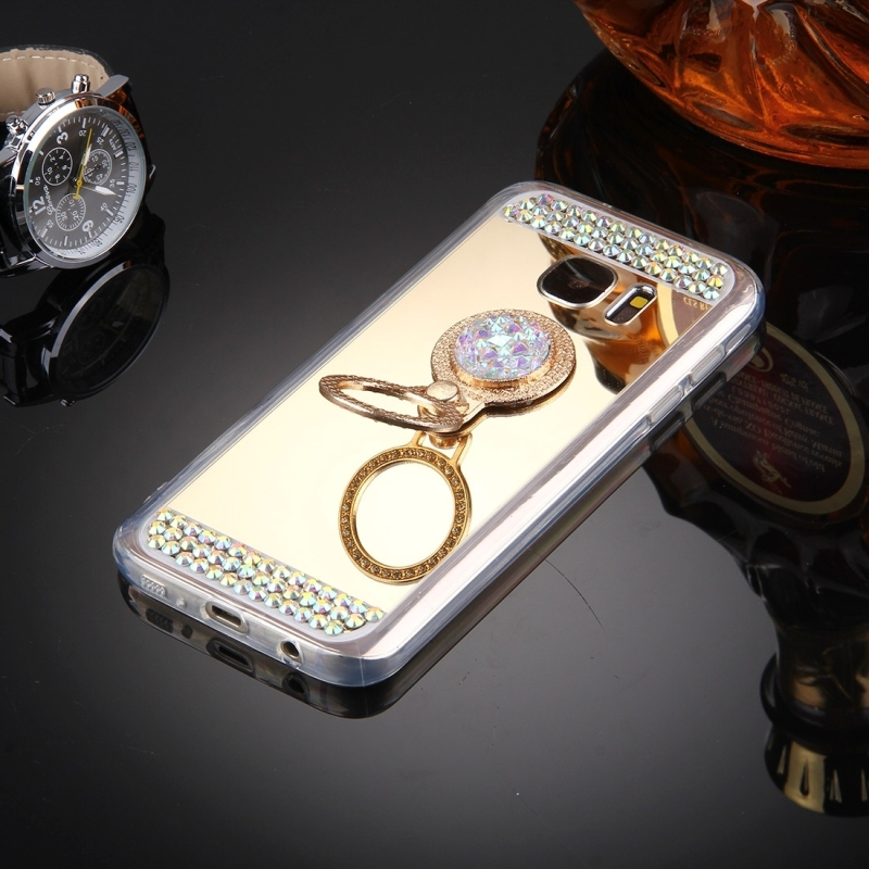 For Samsung Galaxy S7 Edge / G935 Diamond Encrusted Electroplating Mirror Protective Cover Case with Hidden Ring Holder (Gold)