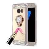 For Samsung Galaxy Note 5 / N920 Diamond Encrusted Electroplating Mirror Protective Cover Case with Hidden Ring Holder (Gold)