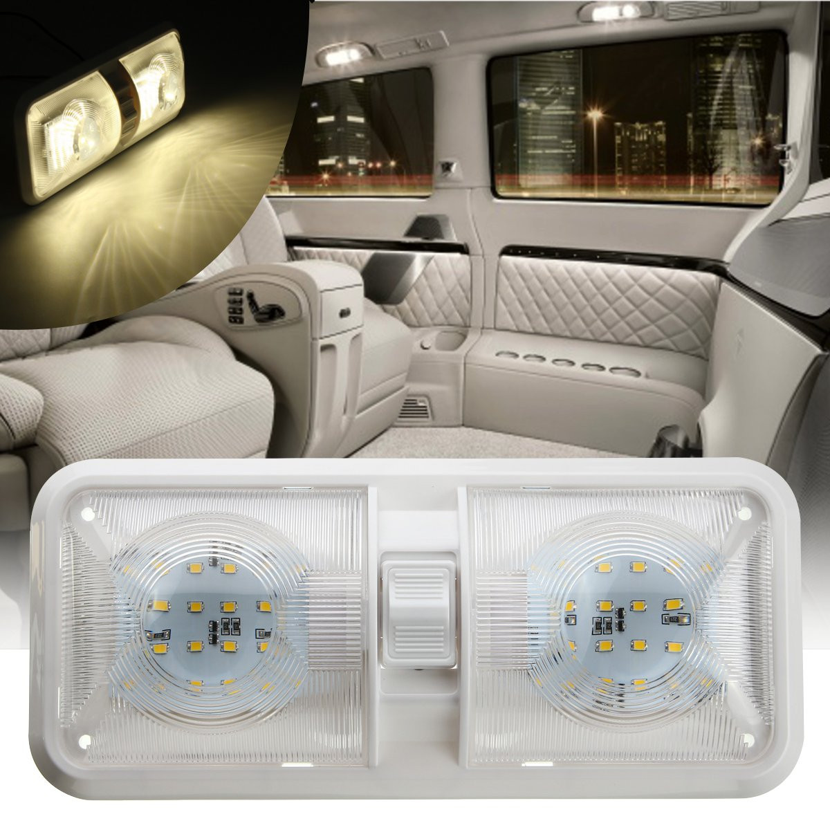 12v 48led 2835 Smd Interior Double Dome Ceiling Light Switch For Rv Boat Camper Trailer Alex Nld