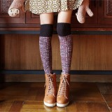 Women Ladies Harajuku Knitting Over Knee Thigh Stockings High Socks Boots Hosiery