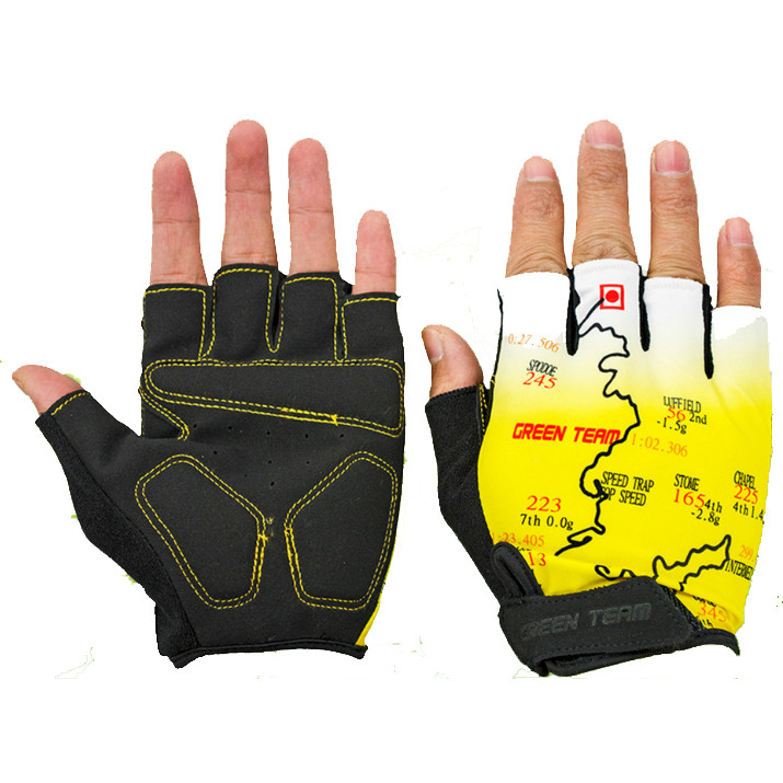 Mountain Cycling Gloves  Half Finger Bike Motocross Sports Bicycle Map Print Motorcycle Mitten