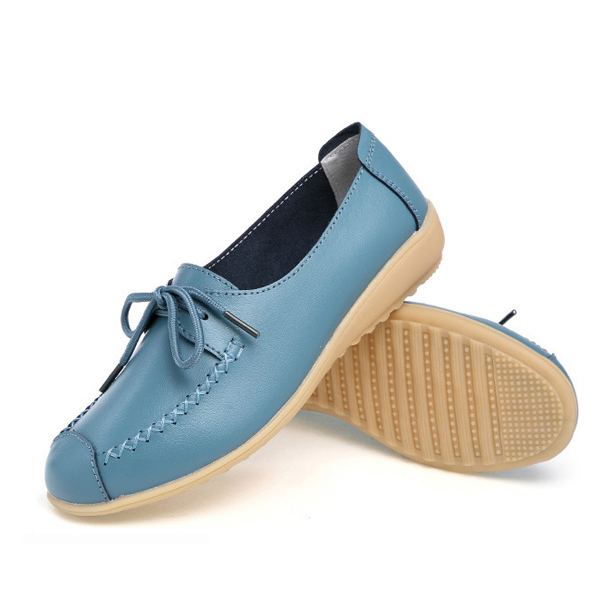 Pure Color Lace Up Soft Sole Casual Round Toe Flat Shoes