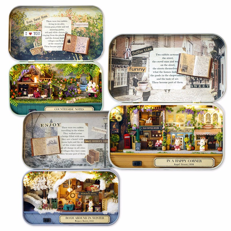 Diy Handwork Assembly Retro Tin Box Cute Room Old Time Cottage With Led Home Decor Gift Alex Nld