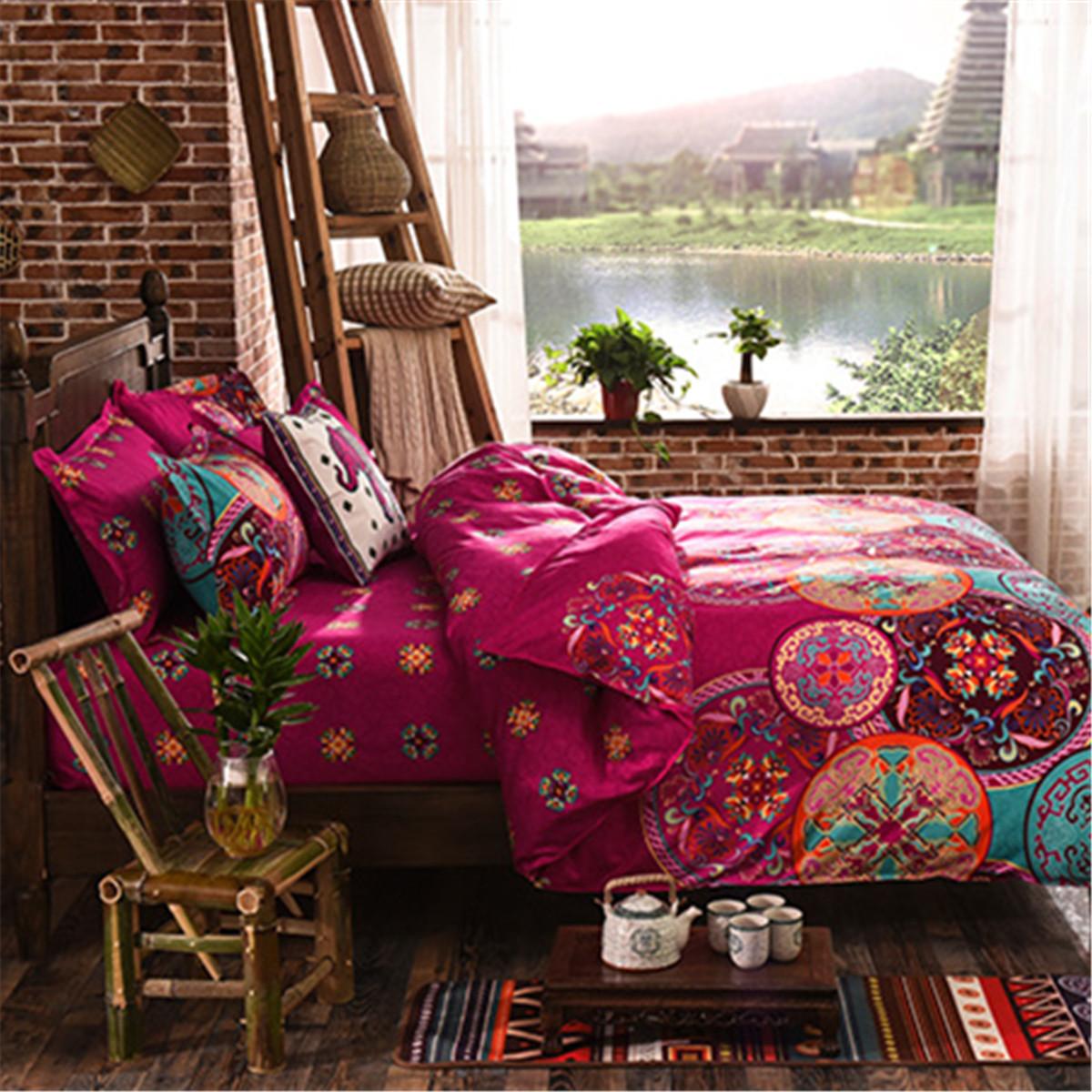 4Pcs Oriental Mandala Polyester Single Double Queen Size Bedding ...