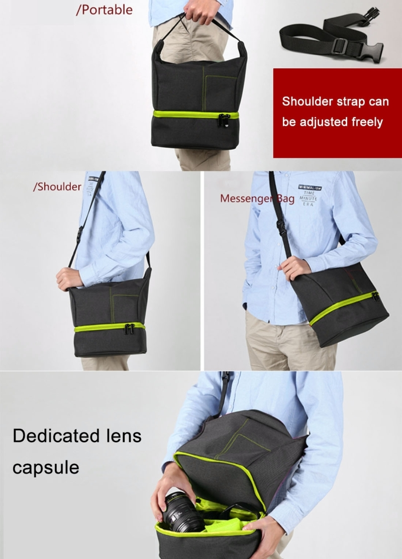 HUWANG HU107513 Portable Waterproof Scratch-proof Abrasive Material Outdoor Sports Sling Shoulder Bag Handbag DSLR Camera Bag Phone Bag with Adjustable Detachable Shoulder Strap for GoPro, SJCAM, Nikon, Canon, Xiaomi Xiaoyi YI, Apple, Samsung, Huawei, Size: 25.5 x 20.5 x 29 cm (Green)
