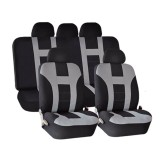 Universal Car Seat Covers Front Rear Protectors 9 Piece Set Washable Grey&Black