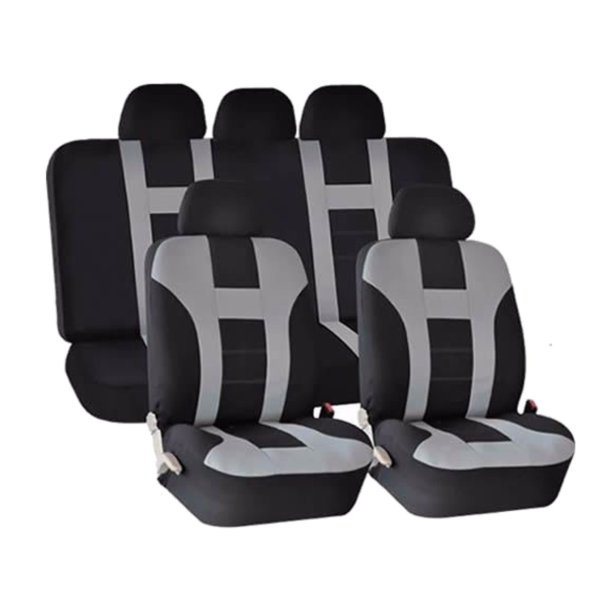universal car seat covers front rear protectors 9 piece set washable grey black alex nld. Black Bedroom Furniture Sets. Home Design Ideas