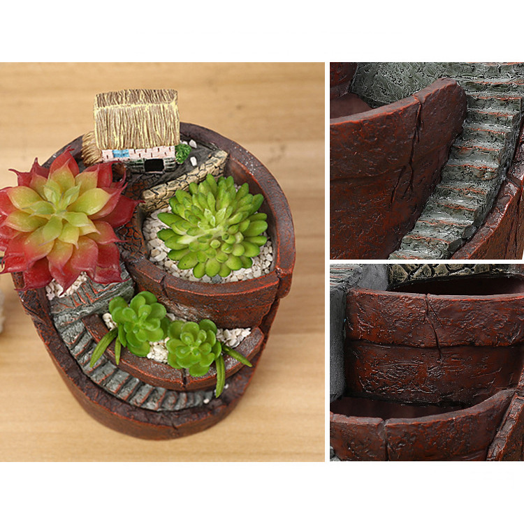 Hanging Garden Potted Micro Landscape Meat Plant Pots Small House Resin Decoration
