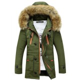 Fall  Winter Clothing Mens Cotton – padded Slim Hooded Thick Fur Collar Long Coat