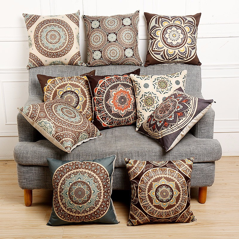 45x45cm Vintage Flower Cotton Linen Throw Pillow Case Waist Cushion Cover Bags Home Sofa Car ...