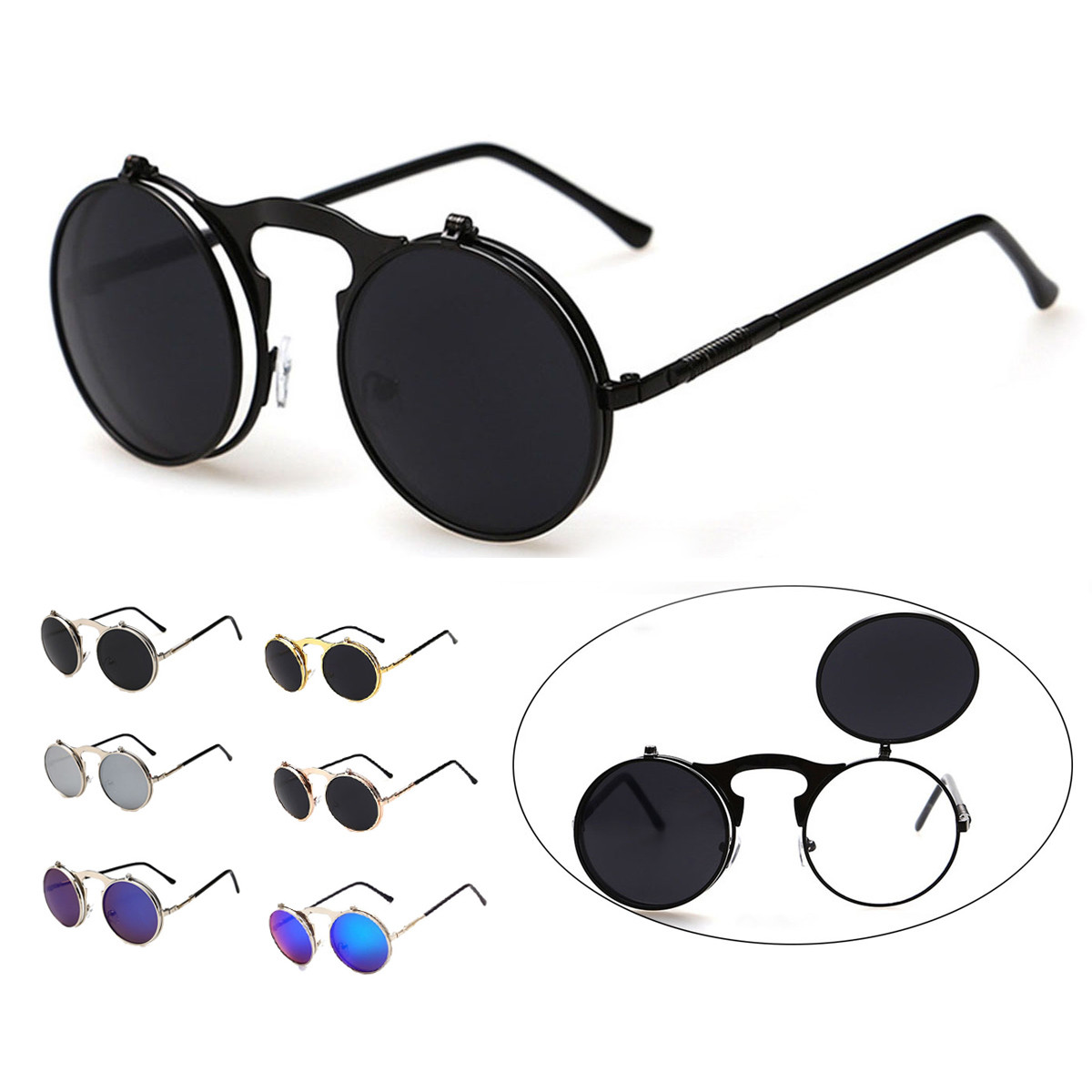104f1ae51ed Women Vintage Steampunk Goggles Men Round Metal Flip Up Lens Sunglasses  Eyewear. 8633cb4e-2079-443a-ac93-18186e5150a1.jpg ...