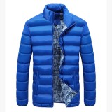 Mens Thick Winter Stand Collar Coat Padded Solid Color Big Size Fashion Casual Jacket