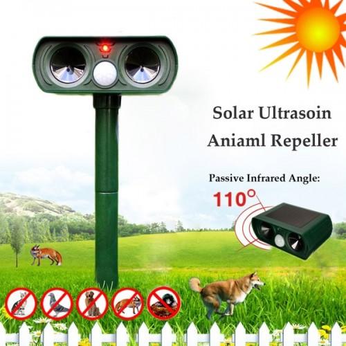 Solar Power Ultrasonic Cat Dog Repeller Outdoor Garden Infrared Sensor Animal Scarer Telescope Shape