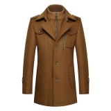 Winter Mens Unique Collar Woolen Warm Jacket Fashion Zipper Button Thick Trench Coat