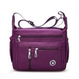 Women Nylon Multilayer Zipper Pockets Shoulder Bags Light Crossbody Bags Messenger Bags