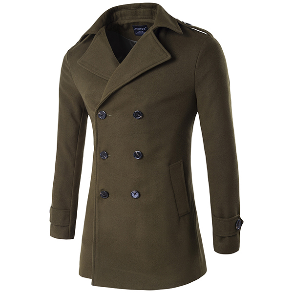 Mens Winter Fashion Double Breasted Woolen Trench Coat Turn-down Collar Business Overcoat