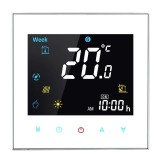 BHT-3001 16A Load Electronic Heating Type LCD Digital Heating Room Thermostat with Sensor, Display Clock / Temperature / Humidity / Time / Week / Heat etc. (White)