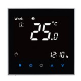 BHT-2001 3A Load Water Heating Type LCD Digital Heating Room Thermostat, Display Clock / Temperature / Humidity / Time / Week / Heat etc. (Black)