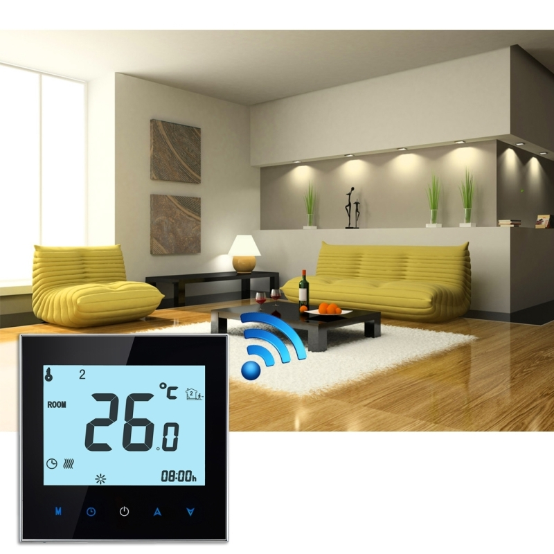 BHT-1000-GB-WIFI 16A Load Electronic Heating Type Touch LCD Digital WiFi Heating Room Thermostat with Sensor, Display Clock / Temperature / Periods / Time / Week / Heat etc. (Black)