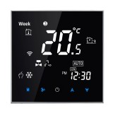 BAC-2000 Central Air Conditioning Type Touch LCD Digital 2-pipe Fan Coil Unit Room Thermostat, Display Fan Speed / Clock / Temperature / Humidity / Time / Week / Heat etc. (Black)