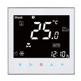 BAC-2000 Central Air Conditioning Type Touch LCD Digital 2-pipe Fan Coil Unit Room Thermostat, Display Fan Speed / Clock / Temperature / Humidity / Time / Week / Heat etc. (White)