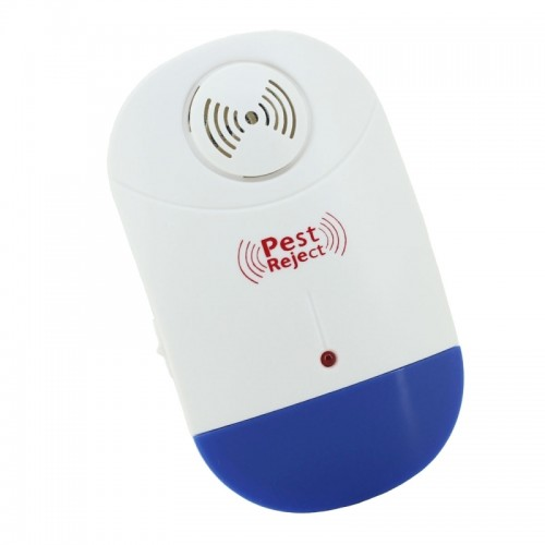 Electronic Ultrasonic Mosquito Rat Pest Control Repeller with LED Light, AC90V-250V (White+Blue)
