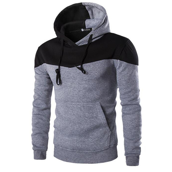 Mens Casual Spell Color Hoodies Cotton Fashion Slim Fit Long Sleeve Sweatshirt