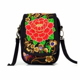 Woman National Floral Canvas 5.5 Inches Phone Bag Casual Crossbody Shoulder Bag