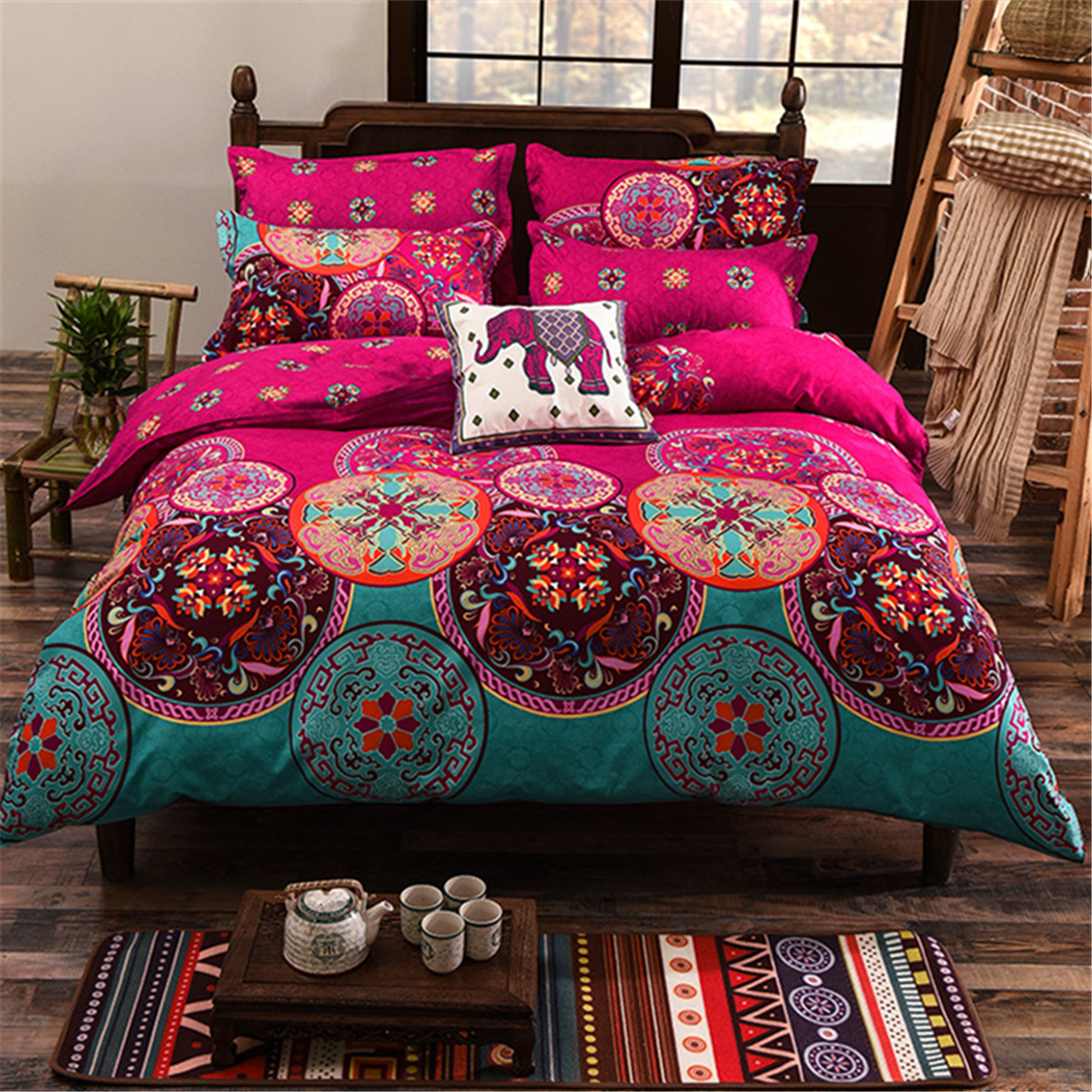 4pcs oriental mandala polyester single double queen size bedding pillowcases quilt duvet cover. Black Bedroom Furniture Sets. Home Design Ideas