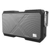 NILLKIN X-Man Portable Outdoor Sports Waterproof Bluetooth Speaker Stereo Wireless Sound Box Subwoofer Audio Receiver with Metal Hanging Buckle & Microphone & 5200mAh Battery & AUX Cable & Hands Free Call Function (Black)