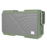 NILLKIN X-Man Portable Outdoor Sports Waterproof Bluetooth Speaker Stereo Wireless Sound Box Subwoofer Audio Receiver with Metal Hanging Buckle & Microphone & 5200mAh Battery & AUX Cable & Hands Free Call Function (Green)