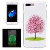 For iPhone 7 Plus Noctilucent Cherry Tree Pattern IMD Workmanship Soft TPU Back Cover Case