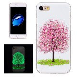 For iPhone 7 Noctilucent Cherry Tree Pattern IMD Workmanship Soft TPU Back Cover Case
