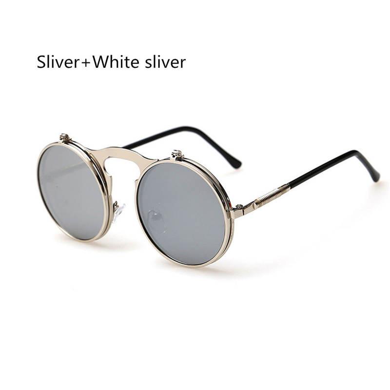 77a3dba301 Women Vintage Steampunk Goggles Men Round Metal Flip Up Lens ...