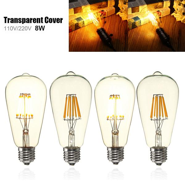 E27 ST64 8W Clear Cover Dimmable Edison Retro Vintage Filament COB LED ...
