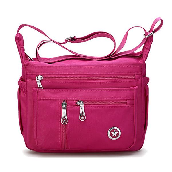 Women Nylon Multilayer Zipper Pockets Shoulder Bags Light Crossbody ... a7132f1e14cbc