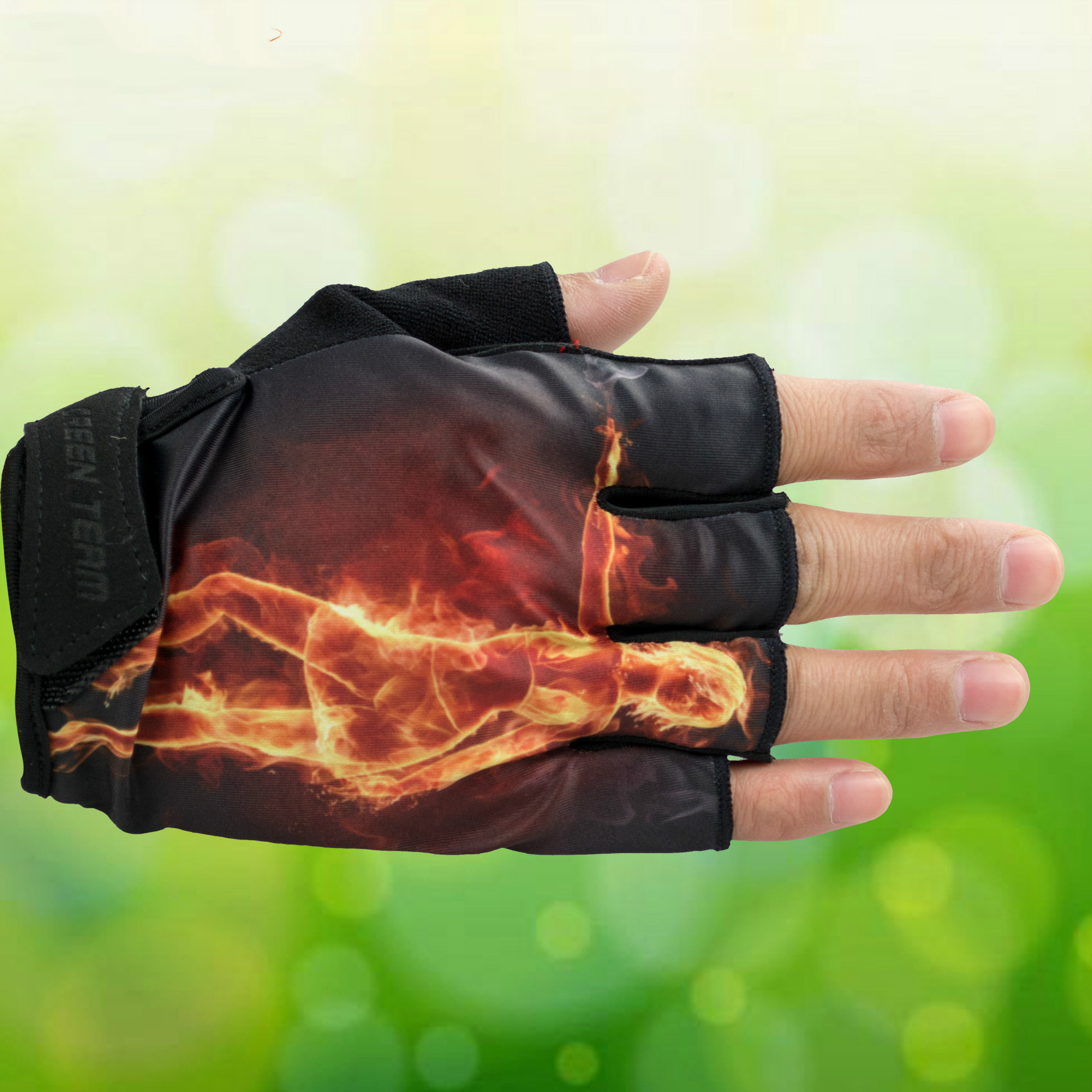 GREEN TEAM MTB Mountain Motocross Cycling Glove Bike Bicycle Sports Antiskid Fire Print Half Finger Gloves